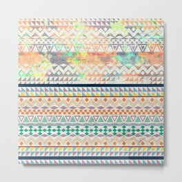 Blue Orange Andes Abstract Aztec Pattern Fashion watercolors Metal Print