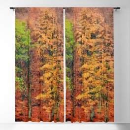 Autumnal forest watercolor painting  Blackout Curtain