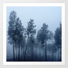 Fog and Forest II-wood,mist,romantic, greenery,sunset,dawn,Landes forest,fantasy Art Print