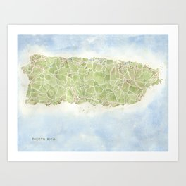 Puerto Rico watercolor map Art Print