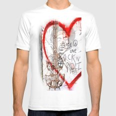 I love Rock'nRoll White SMALL Mens Fitted Tee