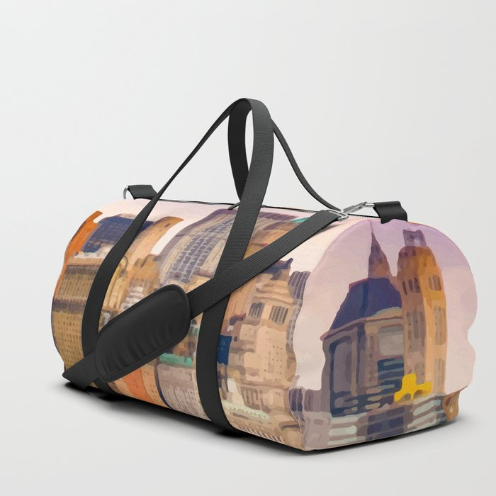 Painting of a very Purple Summer's Sunset over the Skyscrapers of New York City Duffle Bag