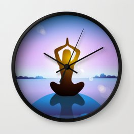 Yoga Studio Calming Purple / Blue Sukhasana Pose Wall Clock