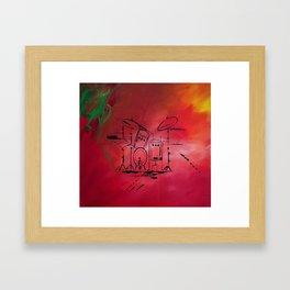 Music, Drummer, Drums, Orignal Artwork By Jodi Tomer. Rock and Roll Drums Framed Art Print