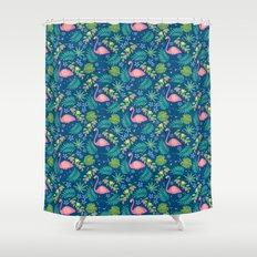 Fruity Flamingo - Blue Shower Curtain
