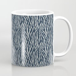 Alabaster White Solid Color Tiger Stripes Pattern on Dark Navy Blue Coffee Mug