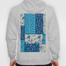 Floral patchwork in blue Hoody