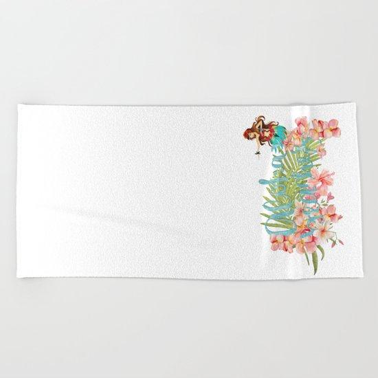 Aloha- Alohabeaches with tropical flowers Palm leaf and Hula Girl Beach Towel