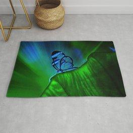 Green leaf watercolor Rug