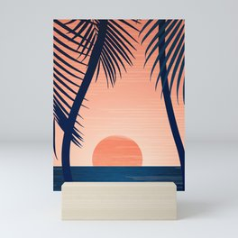 Sunset Palms - Peach Navy Palette Mini Art Print