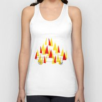 skateboard Tank Tops featuring Flaming Skateboard by marcusmelton