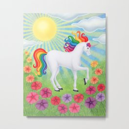 daydreamer (rainbow unicorn), sunshine, petunias Metal Print