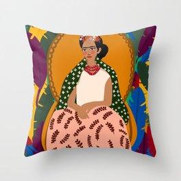 Frida on Her Throne  Throw Pillow