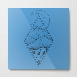 Geometric mountain in a diamonds with moon (tattoo style - black and white) Metal Print