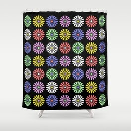 Pastel Flowers Pattern (On Black) Shower Curtain