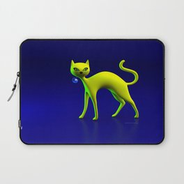 The Yellow Cat And Glass Blue Cherry Laptop Sleeve