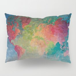 Recycled Color World Map Pillow Sham