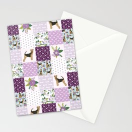 Airedale Terrier Cheater Quilt -  patchwork, airedale, dog, blanket, cute design Stationery Cards