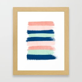 Stripes painterly pastel trendy color way modern home decor dorm nursery style Framed Art Print