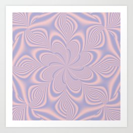 Whirly Bloom Fractal in Rose Quartz and Serenity Art Print