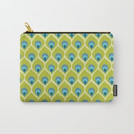Modern Peacock Feather Blue Green Abstract Pattern Carry-All Pouch
