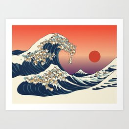 The Great Wave of Corgis Art Print