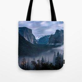 Fog Descends On Yosemite Tote Bag