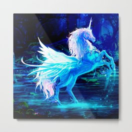 Unicorn Forest Stars Cristal Blue Metal Print