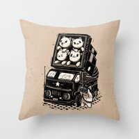 cats Throw Pillows featuring Cats by Ronan Lynam