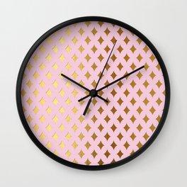 Queenlike - pink and gold elegant quatrefoil ornament pattern Wall Clock