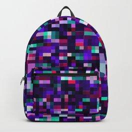 Purple pixel noise static pattern Backpack