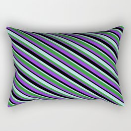 Powder Blue, Forest Green, Purple & Black Colored Stripes/Lines Pattern Rectangular Pillow