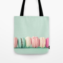 Sweet macarons, macaroons over mint Tote Bag