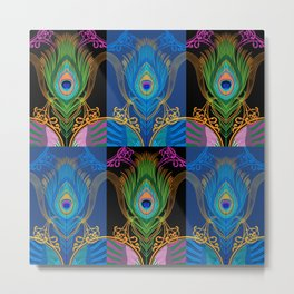 Peacock Feather-black-background Metal Print