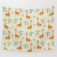 giraffes Wall Tapestries featuring Giraffes by BlueLela