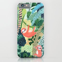 Jungle Sloth Family iPhone Case