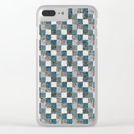 Rustic Gray Turquoise Green Beige Patchwork Clear iPhone Case