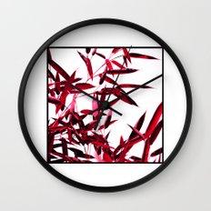 red bamboo abstract I Wall Clock