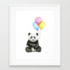Panda Baby with Balloons Whimsical Nursery Animals Framed Art Print