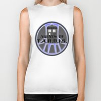 agents of shield Biker Tanks featuring Agents of TARDIS Doctor Who Agents of Shield Mash Up by Whimsy and Nonsense