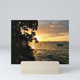 Sunset Beach Bay Boats Seascape Mini Art Print