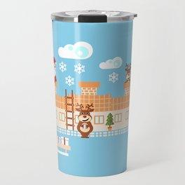 Santa Claus deliver presents on Christmas Eve Travel Mug