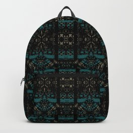 Geometric Stained Glass Blocks - Black Velvet Pattern on Eden Blue & Sandy Gold by artestreestudio Backpack