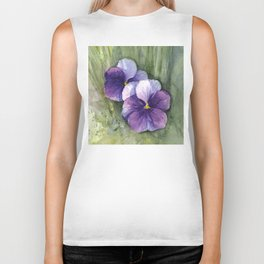 Purple Pansies Watercolor Flowers Painting Violet Floral Art Biker Tank