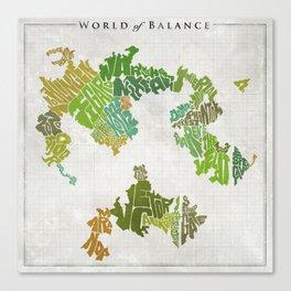 Final Fantasy VI - World of Balance Typographic Map Canvas Print