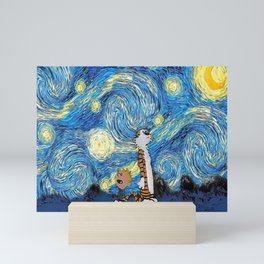 Calvin Hobbes Starry Night Mini Art Print