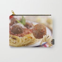 Spaghetti and meatball on a fork, plate in the background Carry-All Pouch