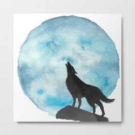 Howl at the Moon blue Metal Print