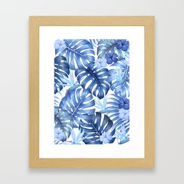 Blue tropical pattern  (monstera leaves and bird of paradise flowers Framed Art Print