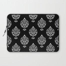 Orna Damask Pattern White on Black Laptop Sleeve
